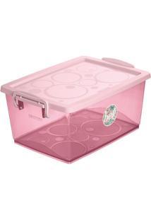 Caixa Organizadora Com Trava- Rosa Claro- 7,5L- Ordene