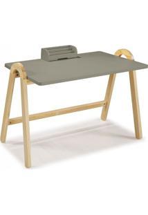 Escrivaninha Com Porta Objetos Ringo Maxima Natural/Cinza