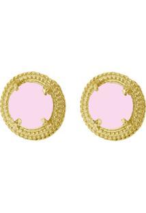 Brinco Mini Esferas Rosa Leitosa La Madame Co