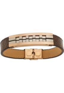 Bracelete De Aço Inox Tudo Joias Rosê Com 13Mm De Largura - Unissex-Rose Gold