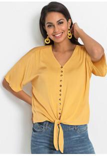 Blusa Com Amarração E Abotoamento Amarela