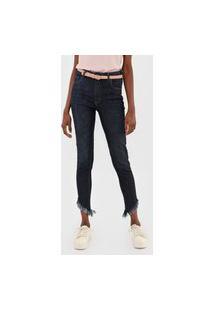 Calça Cropped Jeans Forum Skinny Marisa Preta/Azul-Marinho