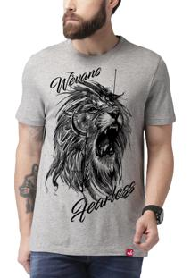 Camiseta Wevans Leão Tattoo Cinza