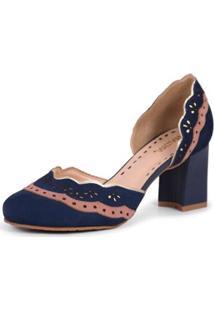 Sapato Mantoan Scarpin Casual Salto Alto Em Couro - Feminino-Azul