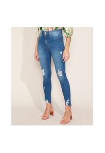 Calça Jeans Feminina Sawary Super Skinny Push Up Super Lipo Cintura Alta Destroyed Azul Médio