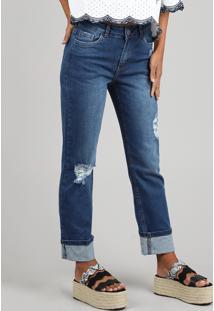 Calça Jeans Feminina Reta Com Rastros Azul Escuro