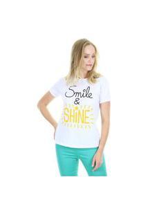"""Camiseta T-Shirt """"Shine"""""""" Branca Aha"""""""