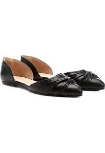 Sapatilha Couro Shoestock Nó Feminina - Feminino-Preto
