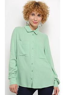 Camisa Colcci Manga Longa Feminina - Feminino-Verde Claro