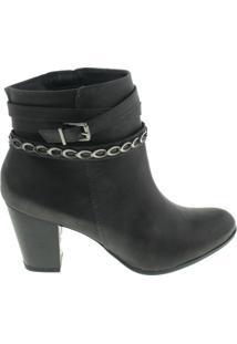 Bota Via Marte Ankle Boots Feminina - Feminino-Preto