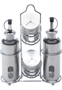 Conjunto Galheteiro De Aço Inox E Vidro 5 Peças Pointer - Bon Gourmet - Prata