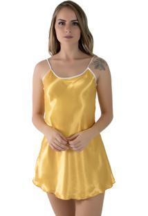 Camisola Linha Noite De Cetim 002 Amarelo