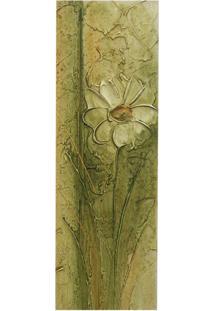 Quadro Artesanal Com Textura Margarida Verde 20X60Cm Uniart