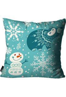 Capa Para Almofada De Natal 45X45Cm Azul