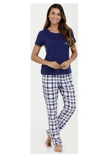 Pijama Feminino Xadrez Manga Curta Marisa