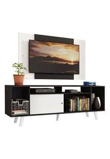 Rack Madesa Cancun E Painel Para Tv Até 58 Polegadas Com Pés - Preto/Branco 77C7 Cor:Preto/Branco