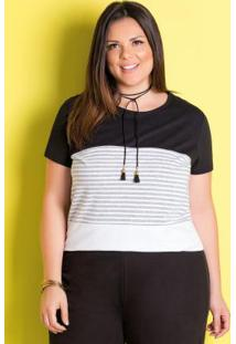 T-Shirt Preta, Branca E Listrada Plus Size