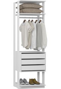 Guarda-Roupa Closet 3 Gavetas 70 Cm Branco - Bentec