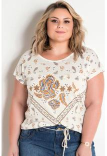 Blusa Off White Com Estampa Frontal Plus Size