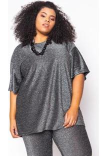 Camiseta Almaria Plus Size Alt Brand Glow Feminina - Feminino-Preto