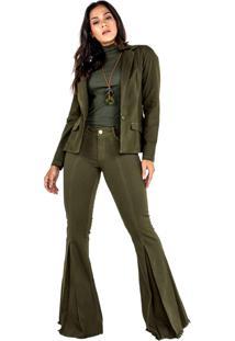 Blazer Boyfriend Verde Militar - Verde/Verde Militar - Feminino - Algodã£O - Dafiti