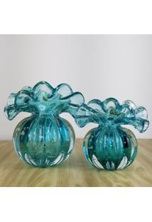 Kit Vasos De Murano - Trouxinhas De Cristal Esmeralda (2 Peã§As) - Verde - Dafiti