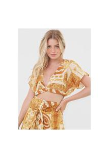 Blusa Cropped Morena Rosa Estampado Amarelo