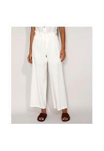 Calça Feminina Pantalona Cintura Super Alta Com Linho E Martingale Off White