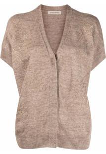 Gentry Portofino Short-Sleeve Embellished Cardigan - Neutro