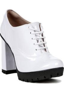 Sapato De Salto Oxford Feminino Bebecê Branco