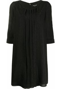 Emporio Armani Vestido Reto Com Fenda Nas Mangas - Preto