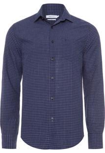 Camisa Masculina Xadrez - Azul Marinho