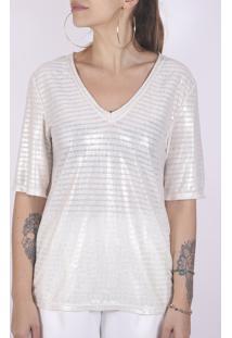 Camiseta Superfluous Perolada - Branco/Off-White - Feminino - Poliã©Ster - Dafiti