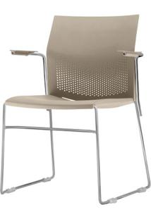 Cadeira Connect Com Braco Assento Bege Base Fixa Cromada - 53796 - Sun House