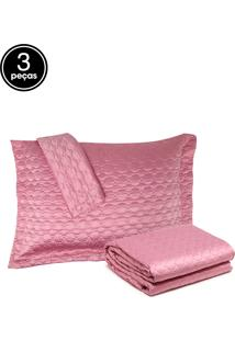Kit Colcha Queen 3Pçs Corttex Home Design Micromatelassê Rosa