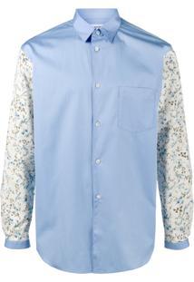 Comme Des Garçons Shirt Camisa Com Mangas Florais - Azul