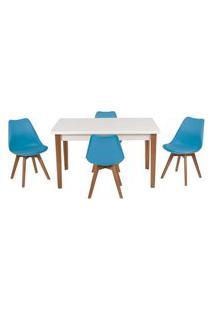 Conjunto Mesa De Jantar Luiza 135Cm Branca Com 4 Cadeiras Leda - Turquesa