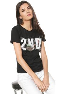 Camiseta Ellus 2Nd Floor Tropical Preta
