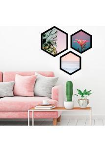 Kit 2 Quadros Com Moldura Hexagonal Tons Rosados