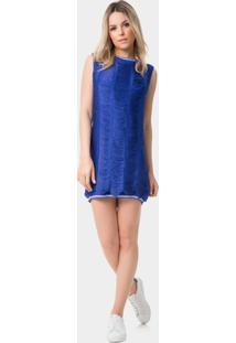 Vestido Reto Com Franjas Azul Klein - Lez A Lez