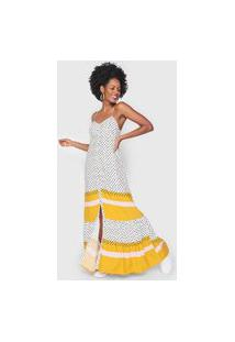 Vestido Cantão Longo Padronagem Branco/Amarelo