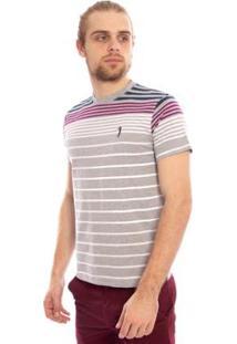 Camiseta Aleatory Listrada Hang Masculina - Masculino-Cinza