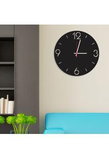 Relógio De Parede Decorativo Premium Números Vazados Preto Ônix Médio