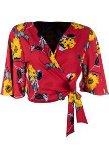 Blusa Kimono Linda D+ Floral Coral