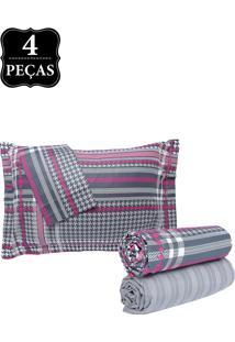 Jogo De Cama Queen Hedrons By Design Street Percal 250 Fios 4Pçs Cinza/Branco/Rosa