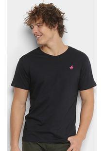 Camiseta Polo Up Gola V Masculina - Masculino-Preto