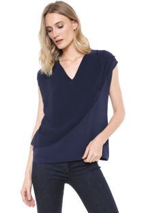 Blusa Ana Hickmann Sobreposição Azul-Marinho