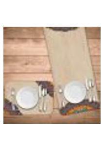 Jogo Americano Com Caminho De Mesa Mandala Retro Kit Com 2 Pçs + 2 Trilhos