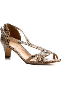 Sandália Couro Shoestock Salto Cone Cobra Feminina - Feminino-Cobra