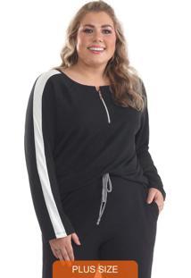 Blusa Plus Size Moletinho Com Zíper Preto